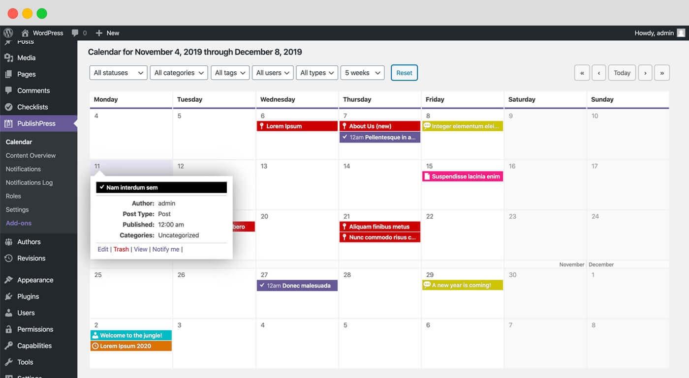 publishpress dashboard