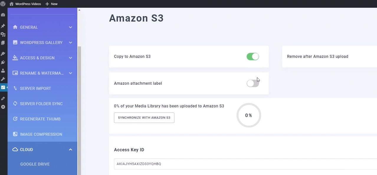 amazon s3 storage settings