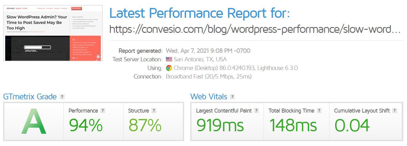 convesio website speed test