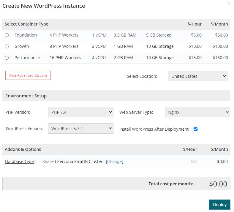 Screenshot of Convesio's plan selection UI
