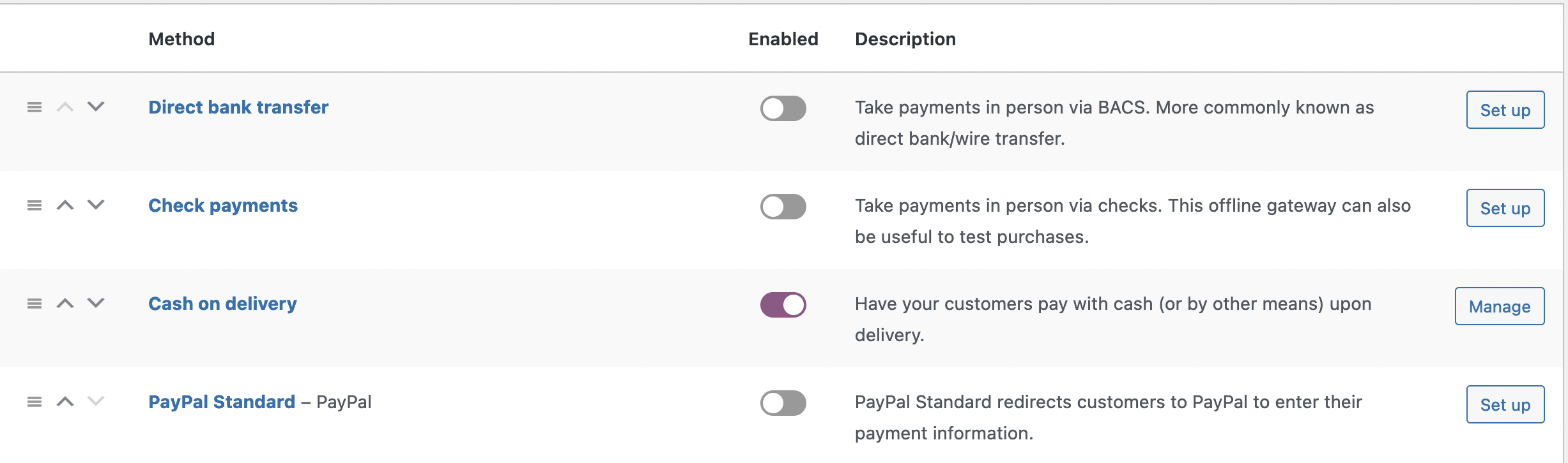 Screenshot showing settings needed for testing WooCommerce in Roboswarm