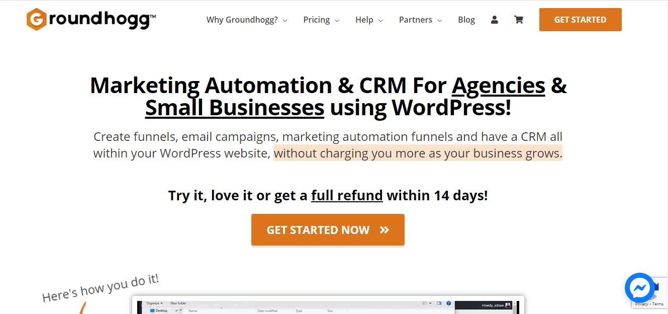 Screenshot of WordPress CRM Groundhog