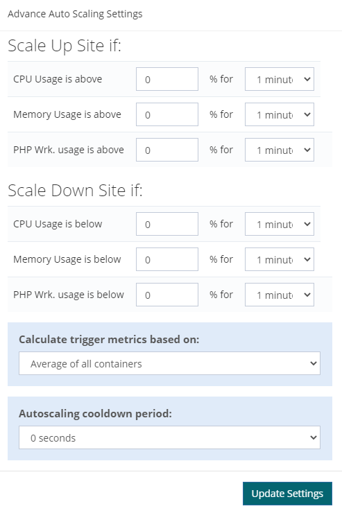 Screenshot of Convesio's dashboard screen for setting advanced options for auto scaling