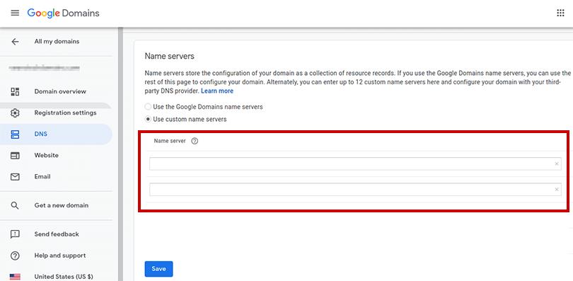 Screenshot of the nameserver settings in Google Domains