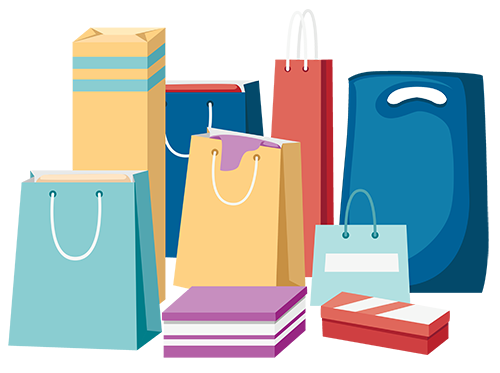 Illustration showing a number of shopping bags