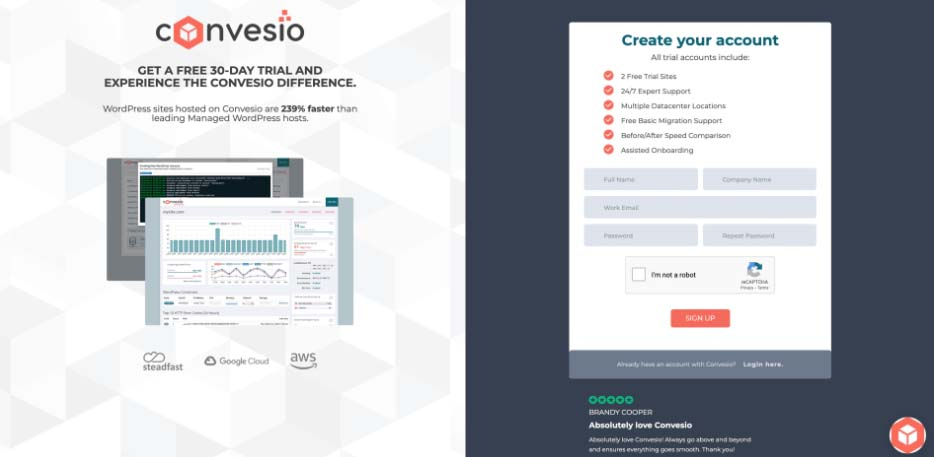 Screenshot of Convesio's free trial sign up page