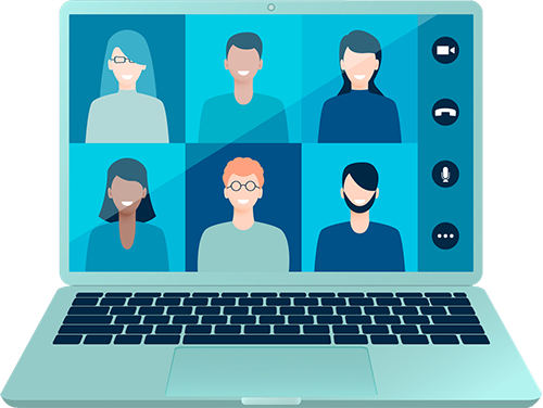 Illustration representing an event being run via an online conferencing platform